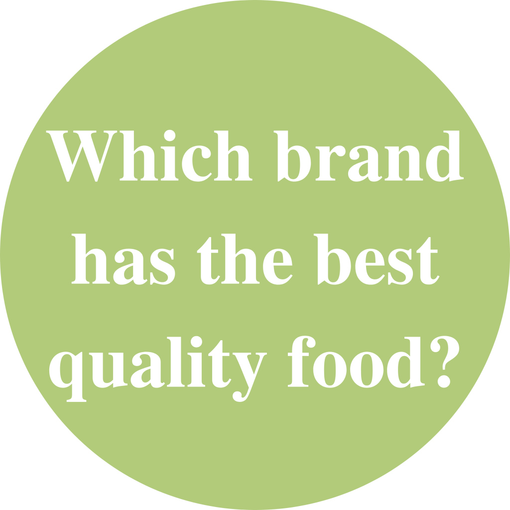 """Green circle with white text inside saying: """"Which brand has the best quality food?"""""""