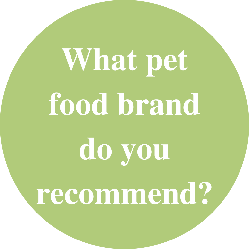 """Green circle with white text inside saying: """"What pet food brand do you recommend?"""""""
